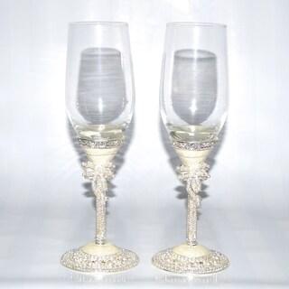 Pearl White Italian 2-piece Champagne Glasses Set