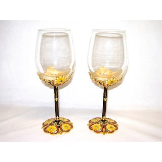 Italian Brown and Yellow Floral Wine Glasses (Set of 2)