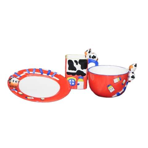 Threestar 'Cow' 3-piece Fabulous Unique Kid Dining Set