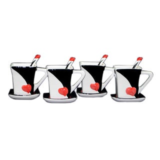 Threestar Love Heart Unique Coffee Mugs/ Tea Cups (Set of 4)