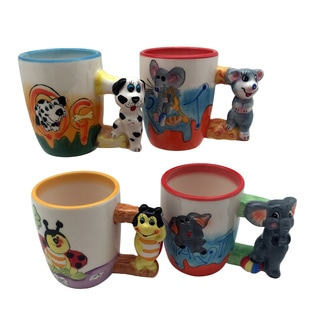 Threestar Assorted Animals Ceramic Coffee Mugs/Tea Cups (Set of Four)