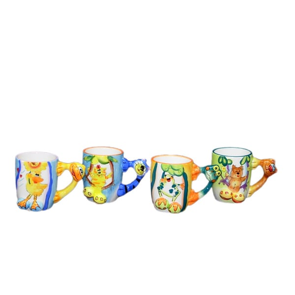 Threestar Assorted Animal Handle Coffee Mugs/ Tea Cups (Set of 4)