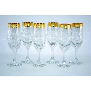 Threestar 14k Gold Rim Fleur De Lis Pattern Italian Champagne Flute Wine Glasses (Set of 6)