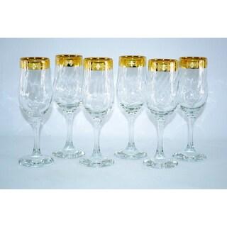 Threestar 14k Gold Rim Fleur De Lis Pattern Italian Champagne Flute Wine Glasses (Set of 6)