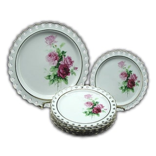 Golden Floral Design 7-piece Serving Plate Set