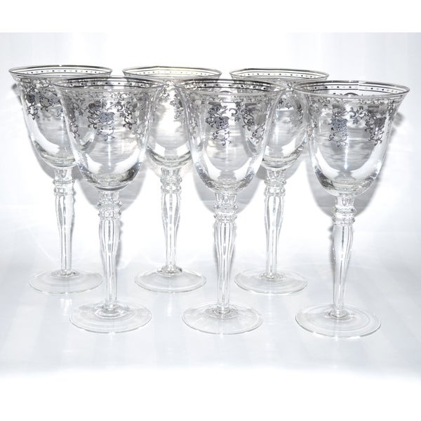 Italian Silver Accented Royal Floral Red Wine Glasses (Set of 6)