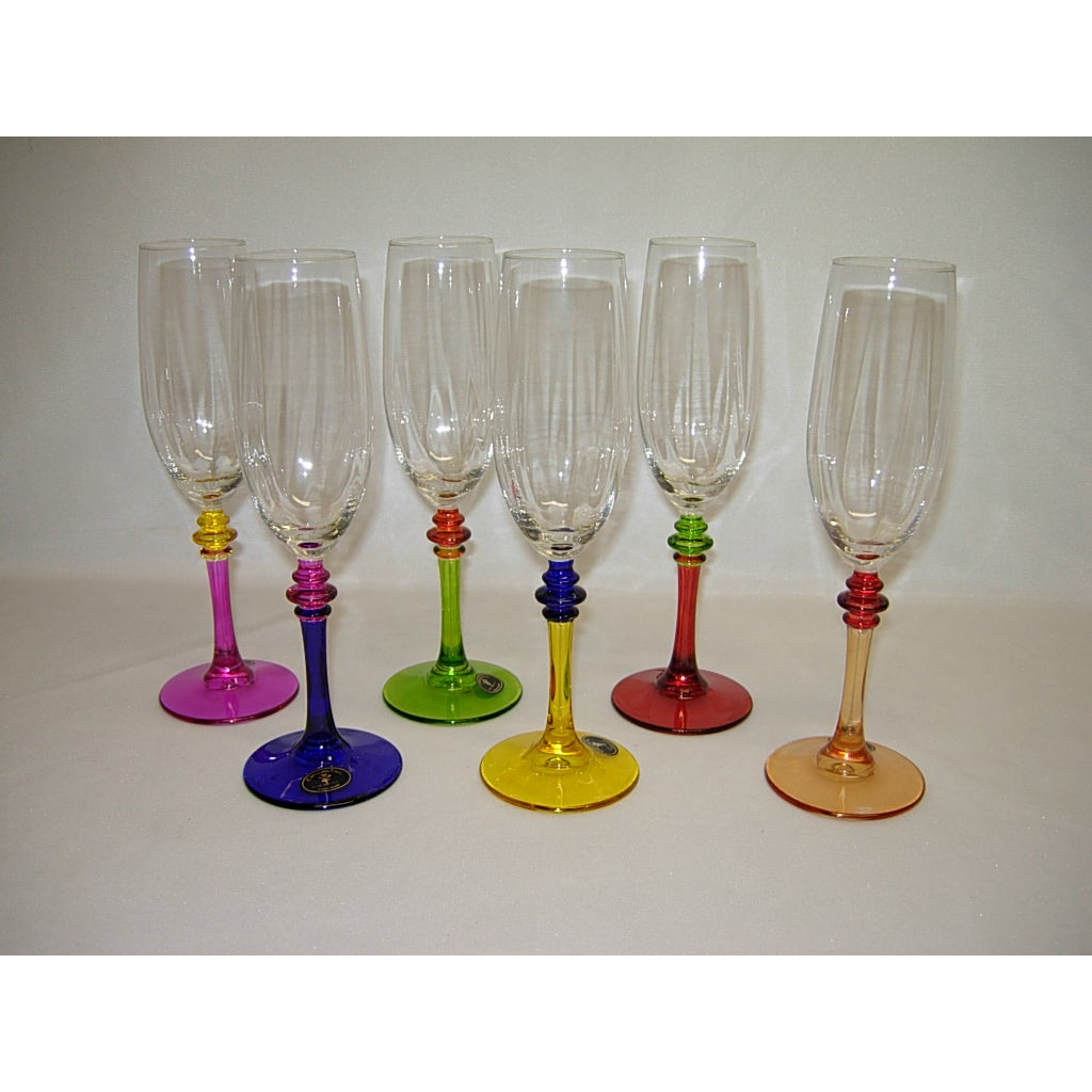 Threestar Italian Hand-painted Multicolor Champagne Flute...