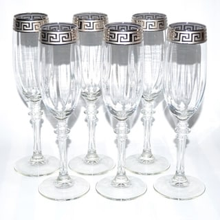 Italian Silver-accented Greek Key Versace Style Champange Flutes (Set of 6)