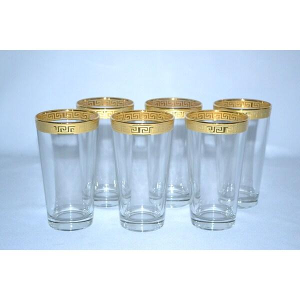 Italian 14-karat Gold Greek Key Hi-Ball Wine Glasses (Set of 6)