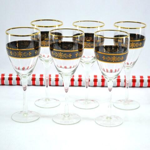 Threestar Crystal Black/ Gold Floral Wine Glasses (Set of 6)