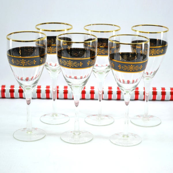 Threestar Crystal Black/ Gold Floral Wine Glasses (Set of 6)