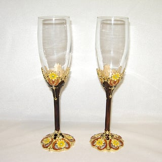 Threestar Brown/ Yellow Floral Pattern Italian Champagne Flutes (Set of 2)