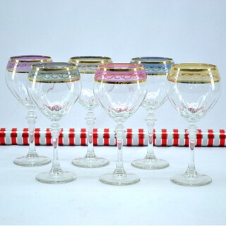 Italian Hand-painted Wine Glass with 14K Gold Rim and Multicolor Pattern (Set of 6)