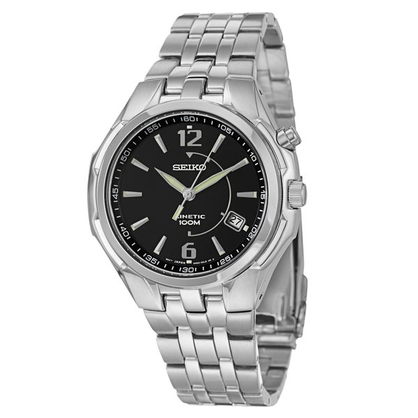 Seiko Men's Stainless Steel Kinetic Power Reserve Watch