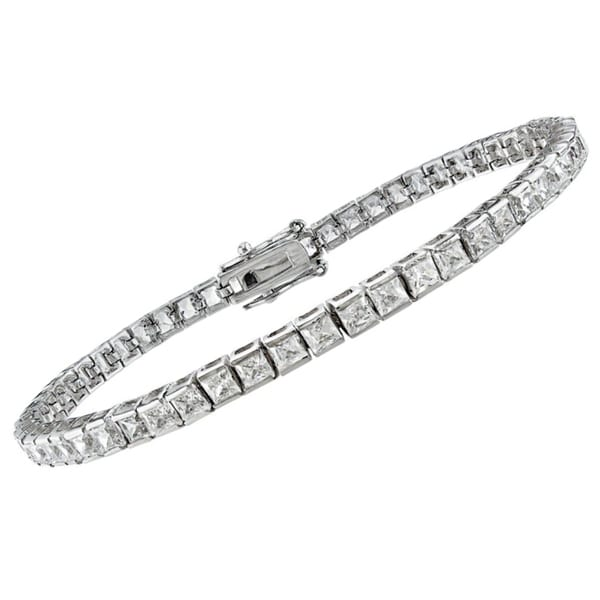 Montebello 14k White Gold 3 1/4ct TDW Princess-cut Diamond Bracelet