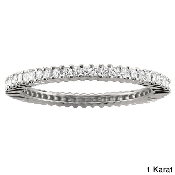 Montebello 14k White Gold 3/4ct or 1ct TDW Princess Diamond Eternity Band (H-I, I1-I2)