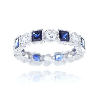 Blue Box Jewels Rhodium Plated Silver Milgrain Eternity Band Ring