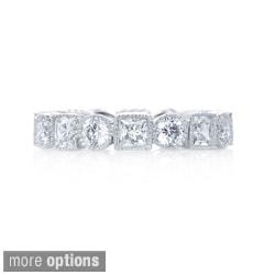 Blue Box Jewels Rhodium Plated Silver Milgrain Eternity Band Ring