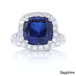 Blue Box Jewels Rhodium Plated 925 Sterling Silver Cushion Halo CZ Cocktail Ring
