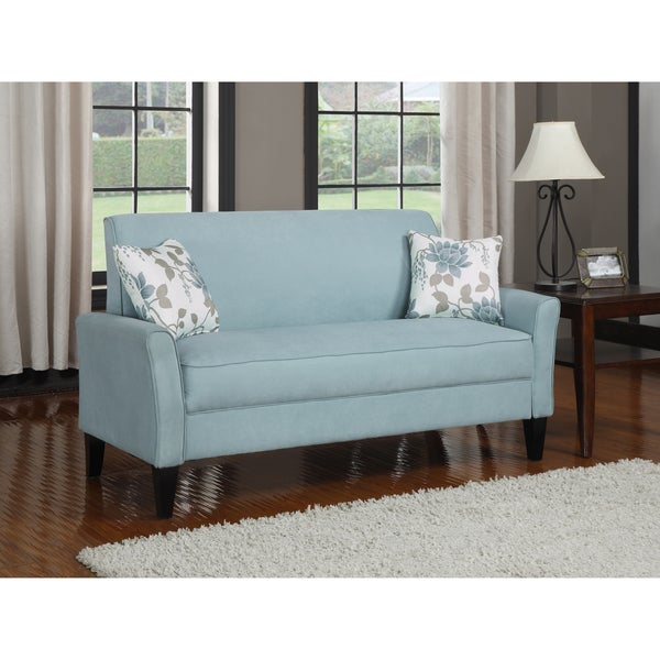 Shop Portfolio Mason Sky Blue Microfiber Sofa - Free Shipping Today ...