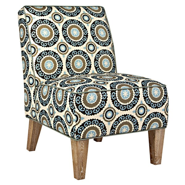 Handy Living Dover Modern Pinwheel Cream/ Sky Blue Armless Chair