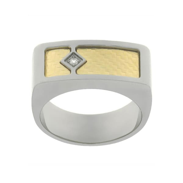 Lucien Piccard Men's 'Diamante Di Uomo' 18k Gold Ring