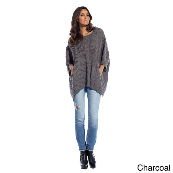 Elan Women's Box Cable Detail Poncho Sweater (One Size Fits Most)