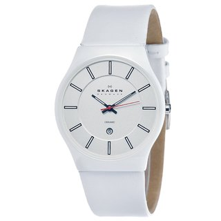 skagen men s ceramic shiney white dial watch shipping today skagen men s ceramic shiney white dial watch shipping today overstock com 14982451
