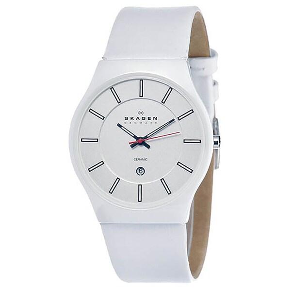 Skagen Men's Ceramic Shiney White Dial Watch
