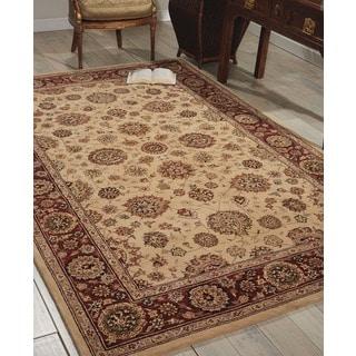 Nourison 2000 Floral Ivory Hand-tufted Kashan Wool Rug
