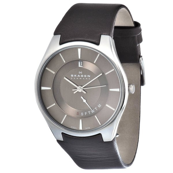skagen men s brown leather strap day and date watch skagen men s brown leather strap day and date watch