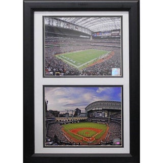 Reliant Stadium and Minute Maid Park Custom Framed Double Print (12 x 18)
