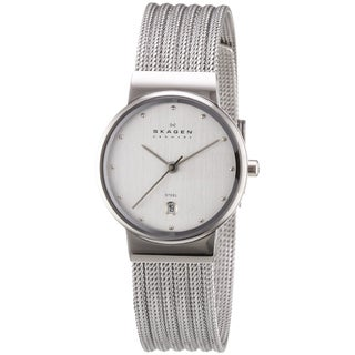 Skagen Women's 355SSS1 Silver Dial Watch with Stainless Steel Mesh Bracelet