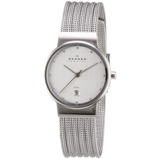 Skagen Women's 355SSS1 Silver Dial Watch with Stainless Steel Mesh Bracelet|https://ak1.ostkcdn.com/images/products/7549353/P14982499.jpeg?impolicy=medium