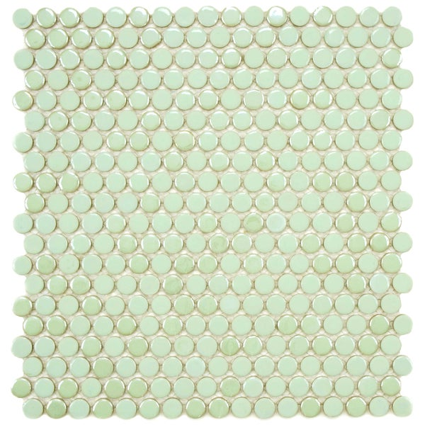 SomerTile 11.25x12-in Posh Penny Round Mint Porcelain Mosaic Tile (Pack of 10)