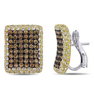 Miadora Signature Collection 18k Two-tone Gold 5 3/4ct TDW Brown Diamond Earrings|https://ak1.ostkcdn.com/images/products/7549400/P14982535.jpg?impolicy=medium