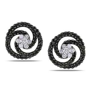 Miadora Signature Collection Miadora 14k White Gold 1 1/2ct TDW Black Diamond Swirl Earrings (G-H, SI1-SI2)