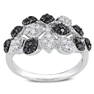 Miadora Signature Collection 14k Gold 1/2ct TDW Black and White Diamond Ring