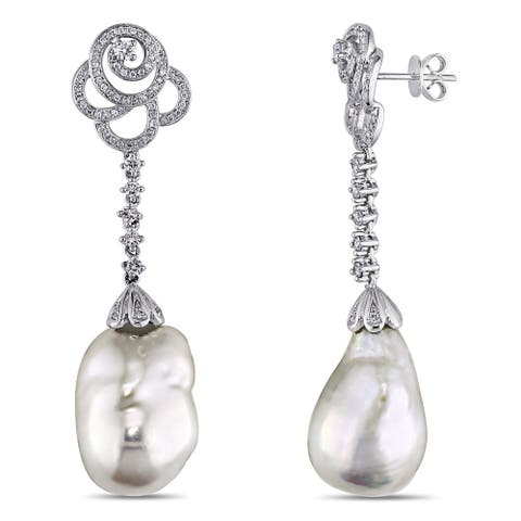 Miadora Signature Collection 14k Gold Cultured Freshwater Pearl and 1ct TDW Diamond Earrings (G-H, SI1-SI2)