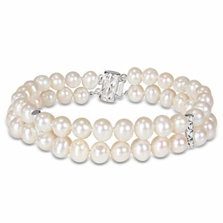 Miadora Sterling Silver Cultured Freshwater Pearl Two-strand Bracelet (6.5-7 mm)