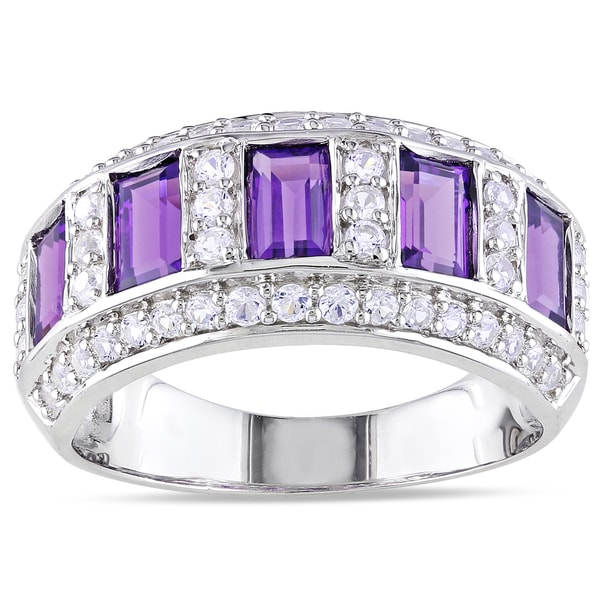 Miadora Sterling Silver Amethyst-and-White Baguette-cut Sapphire Ring