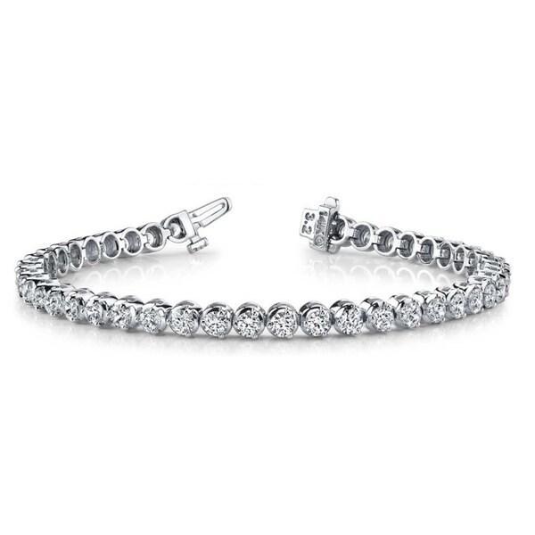 14k White Gold 7ct TDW Round Diamond Tennis Bracelet (G-H, VS1-VS2)