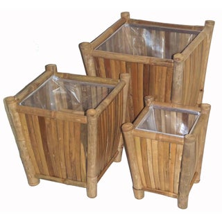 Bamboo Three-Piece Planter Set , Handmade in Vietnam
