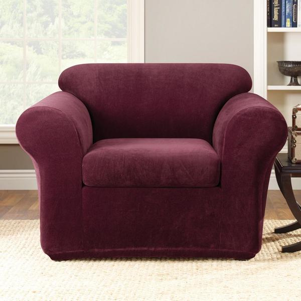 Shop Sure Fit Burgundy 2 Piece Chair Slipcover Free