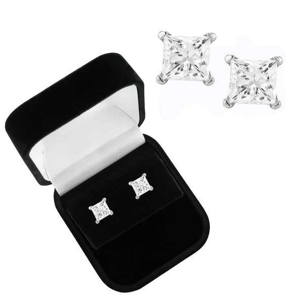 Montebello 14k White Gold 2ct TDW Princess-cut Diamond Stud Earrings with Gift Box (I-J, I2-I3)