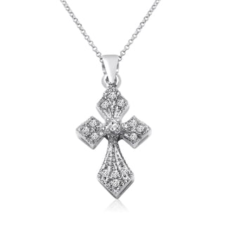 10k White Gold 1/10ct TDW Diamond Cross Necklace