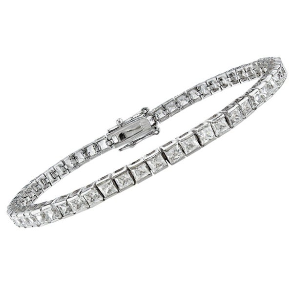 Montebello 14k White Gold 7ct TDW Princess-Cut Diamond Bracelet (G-H, SI1-SI2 or VS1-VS2)