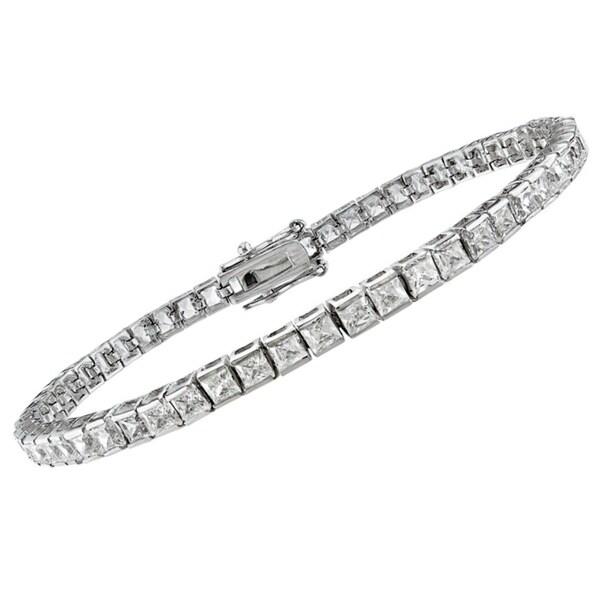 Montebello 14k White Gold 6ct TDW Princess-Cut Diamond Bracelet (G-H, SI1-SI2)