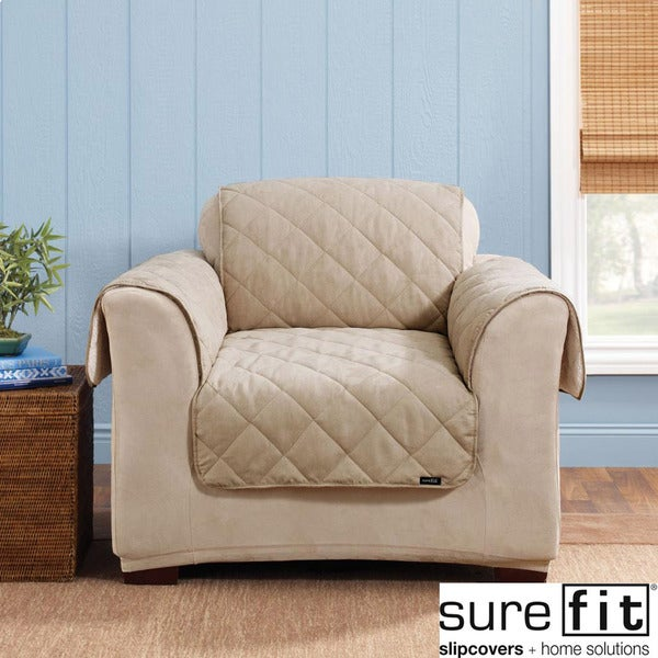 Sure Fit Reversible Soft Suede Sherpa Taupe Chair Cover
