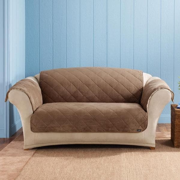 Sure Fit Reversible Soft Suede Sherpa Cocoa Loveseat Cover
